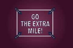 Handwriting text Go The Extra Mile. Concept meaning Give an additional do more than is expected from you Square Outline. With Corner Arrows Pointing Inwards on royalty free illustration