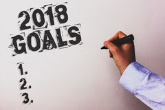 Handwriting text 2018 Goals 1. 2. 3.. Concept meaning Resolution Organize Beginnings Future Plans Advisors hand holding black mark. Er whiteboard written black royalty free stock images