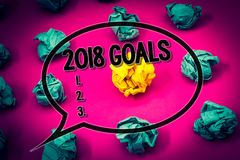 Handwriting text 2018 Goals 1. 2. 3.. Concept meaning Resolution Organize Beginnings Future Plans Huge emerald paper lobs surround. Es yellow paper ball magenta stock photos