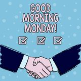 Handwriting text Good Morning Monday. Concept meaning Happy Positivity Energetic Breakfast. Handwriting text Good Morning Monday. Conceptual photo Happy stock illustration