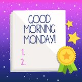 Handwriting text Good Morning Monday. Concept meaning Happy Positivity Energetic Breakfast. Handwriting text Good Morning Monday. Conceptual photo Happy vector illustration