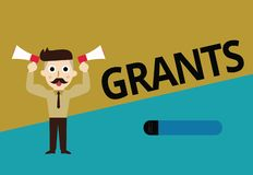 Handwriting text Grants. Concept meaning agree to give or allow something requested someone Authorize action.  vector illustration
