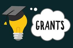 Handwriting text Grants. Concept meaning agree to give or allow something requested someone Authorize action.  stock illustration
