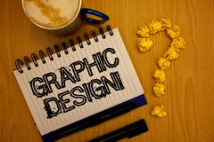 Handwriting text Graphic Design Motivational Call. Concept meaning Art of combining Text Images in advertising Ideas grunge notebo. Ok coffee cup crumpled papers stock images