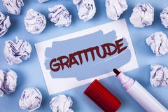 Handwriting text Gratitude. Concept meaning Quality of being thankful Appreciation Thankfulness Acknowledge written on Painted Sti. Handwriting text Gratitude Stock Image