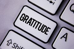 Handwriting text Gratitude. Concept meaning Quality of being thankful Appreciation Thankfulness Acknowledge written on the White K. Handwriting text Gratitude Stock Image