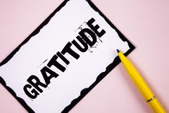 Handwriting text Gratitude. Concept meaning Quality of being thankful Appreciation Thankfulness Acknowledge written on White Stick. Handwriting text Gratitude Royalty Free Stock Photo