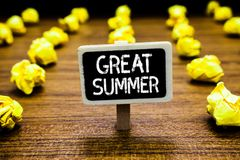 Handwriting text Great Summer. Concept meaning Having Fun Good Sunshine Going to the beach Enjoying outdoor Blackboard crumpled pa. Pers several tries mistake stock photo