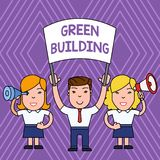 Handwriting text Green Building. Concept meaning A structure that is environmentally responsible Sustainable People with. Handwriting text Green Building royalty free illustration