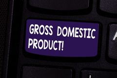 Handwriting text Gross Domestic Product. Concept meaning total value of everything produced in the country Keyboard key. Intention to create computer message royalty free stock image