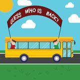 Handwriting text Guess Who Is Back. Concept meaning Game surprise asking wondering curiosity question Two Kids Inside. School Bus Holding Out Banner with Stick vector illustration