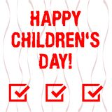 Handwriting text Happy Children S Day. Concept meaning fixed date made to celebrate children and having fun Vertical royalty free illustration