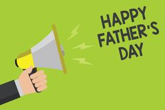 Handwriting text Happy Father s is Day. Concept meaning time of year to celebrate fathers all over the world Announcement symbol s. Peaker alarming warning stock illustration