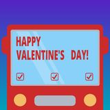 Handwriting text Happy Valentine S Is Day. Concept meaning when lovers express their affection with greetings Drawn Flat. Front View of Bus with Blank Color stock illustration
