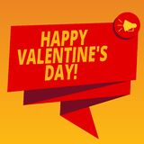 Handwriting text Happy Valentine S Is Day. Concept meaning when lovers express their affection with greetings Folded 3D. Ribbon Sash Megaphone Speech Bubble stock illustration