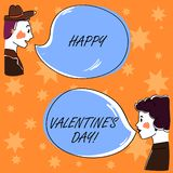 Handwriting text Happy Valentine S Is Day. Concept meaning when lovers express their affection with greetings Hand Drawn. Man and Wo analysis Talking photo with stock illustration