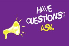 Handwriting text Have Questions question Ask.. Concept meaning asking someone respond you with feedback Three lines text idea mess. Ages ideas alarm speaker Royalty Free Stock Photo