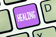 Handwriting text Healing. Concept meaning process of making or becoming sound or healthy again Helping injured royalty free stock photography