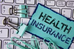 Handwriting text Health Insurance. Concept meaning Health insurance information coverage healthcare provider written on Sticky Not. Handwriting text Health royalty free stock photography