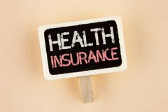 Handwriting text Health Insurance. Concept meaning Health insurance information coverage healthcare provider written on Wooden Not. Handwriting text Health royalty free stock image