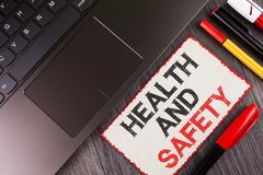 Handwriting text Health And Safety. Concept meaning being in good condition harmless Workouts Healthy food written on White Sticky. Handwriting text Health And Stock Photos