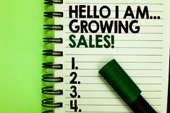Handwriting text Hello I Am... Growing Sales. Concept meaning Making more money Selling larger quantities Written letters and numb. Ers on notepad laid green stock images