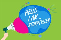 Handwriting text Hello I Am... Storyteller. Concept meaning introducing yourself as novels article writer Man holding Megaphone lo. Udspeaker screaming talk Stock Images