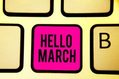 Handwriting text Hello March. Concept meaning musical composition usually in duple or quadruple with beat Keyboard pink key Intent. Ion create computer computing vector illustration