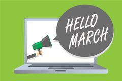 Handwriting text Hello March. Concept meaning musical composition usually in duple or quadruple with beat Man holding megaphone lo. Udspeaker speech bubble royalty free illustration