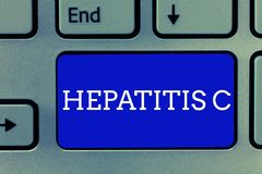 Handwriting text Hepatitis C. Concept meaning Inflammation of the liver due to a viral infection Liver disease.  royalty free stock photos