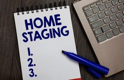 Handwriting text Home Staging. Concept meaning Act of preparing a private residence for sale in the market Open notebook white pag. E black marker computer royalty free stock photos