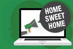 Handwriting text Home Sweet Home. Concept meaning In house finally Comfortable feeling Relaxed Family time Man holding Megaphone l. Oudspeaker computer screen royalty free stock images