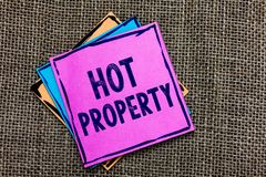 Handwriting text Hot Property. Concept meaning Something which is sought after or is Heavily Demanded Paper notes Important remind. Ers Communicate ideas royalty free stock photo