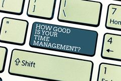 Handwriting text How Good Is Your Time Managementquestion. Concept meaning Managing deadlines timing Keyboard key. Intention to create computer message stock image