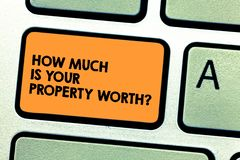 Handwriting text How Much Is Your Property Worthquestion. Concept meaning Establish the price of properties Keyboard key. Intention to create computer message stock image