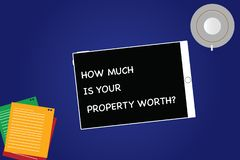 Handwriting text How Much Is Your Property Worthquestion. Concept meaning Establish the price of properties Tablet Empty Screen. Cup Saucer and Filler Sheets on royalty free stock photos