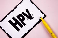 Handwriting text Hpv. Concept meaning Human Papillomavirus Infection Sexually Transmitted Disease Illness written on White Sticky. Handwriting text Hpv. Concept royalty free stock images