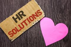 Handwriting text Hr Solutions. Concept meaning Recruitment Solution Consulting Management Solving Onboarding written on Cardboard. Handwriting text Hr Solutions Royalty Free Stock Image