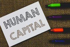 Handwriting text Human Capital. Concept meaning Intangible Collective Resources Competence Capital Education White Paper. Important reminder Communicate ideas royalty free stock photography