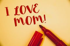 Handwriting text I Love Mom Motivational Call. Concept meaning Good feelings for their own mother TendernessIdeas messages words r. Handwriting texts I Love Mom stock image
