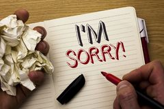 Handwriting text I m Sorry. Concept meaning Apologize Conscience Feel Regretful Apologetic Repentant Sorrowful written by Man on N. Handwriting text I m Sorry Royalty Free Stock Images