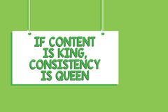 Handwriting text If Content Is King, Consistency Is Queen. Concept meaning Marketing strategies Persuasion Hanging board message c. Ommunication open close sign vector illustration