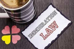 Handwriting text Immigration Law. Concept meaning National Regulations for immigrants Deportation rules written on Sticky Note Pap. Handwriting text Immigration stock photo
