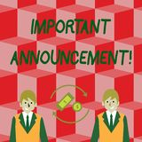Handwriting text Important Announcement. Concept meaning spoken statement that tells showing about something Money in vector illustration