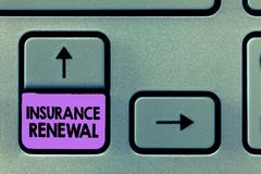 Handwriting text Insurance Renewal. Concept meaning Protection from financial loss Continue the agreement.  stock photo
