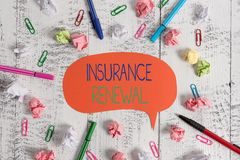 Handwriting text Insurance Renewal. Concept meaning Protection from financial loss Continue the agreement Blank speech. Handwriting text Insurance Renewal royalty free stock photo