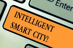Free Handwriting Text Intelligent Smart City. Concept Meaning The City That Has A Smarter Energy Infrastructure Keyboard Key Stock Images - 137983674