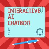 Handwriting text Interactive Ai Chatbot. Concept meaning computer program that simulates huanalysis conversation Blank. Square Color Board with Magnet Click stock illustration