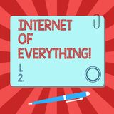 Handwriting text Internet Of Everything. Concept meaning network of things interact and connecting each other Blank. Square Color Board with Magnet Click stock illustration
