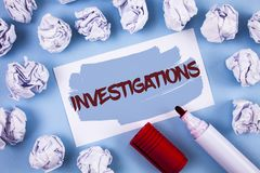 Handwriting text Investigations. Concept meaning Formal inquiry Systematic Study Examination Research Analysis written on Painted. Handwriting text Stock Photo